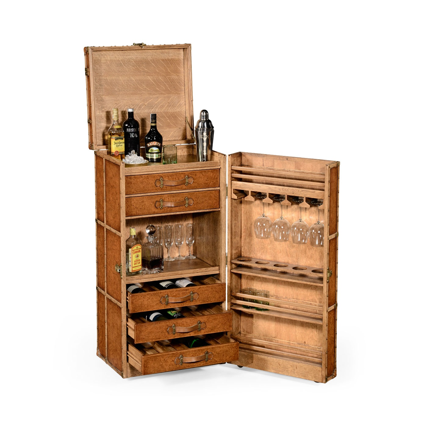 Jonathan Charles Furniture Drinks Cabinet In Travel Trunk Style - Drinks Cabinet In Travel Trunk Style Swanky Interiors