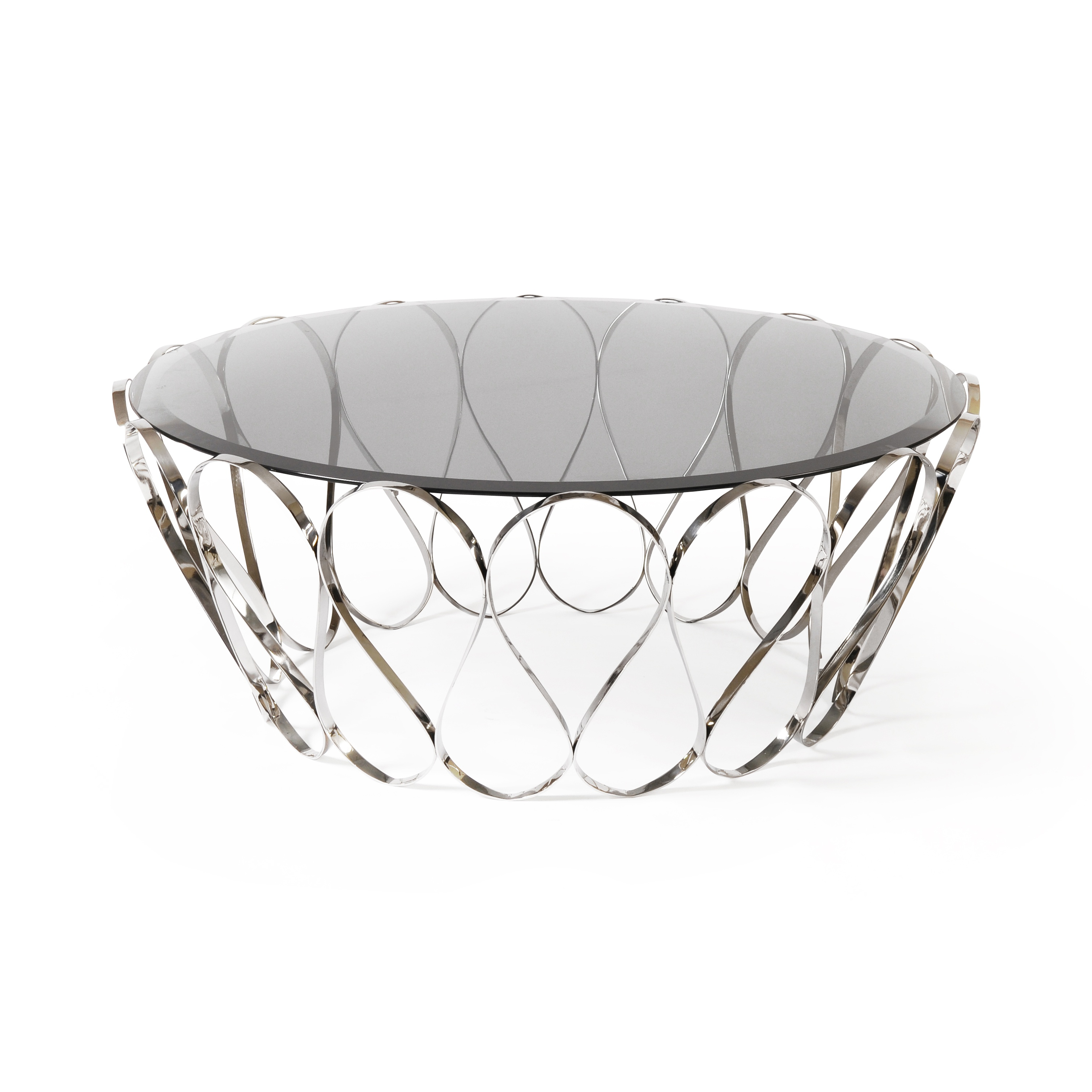 Aquarius Glass Coffee Table Stainless Steel Swanky Interiors
