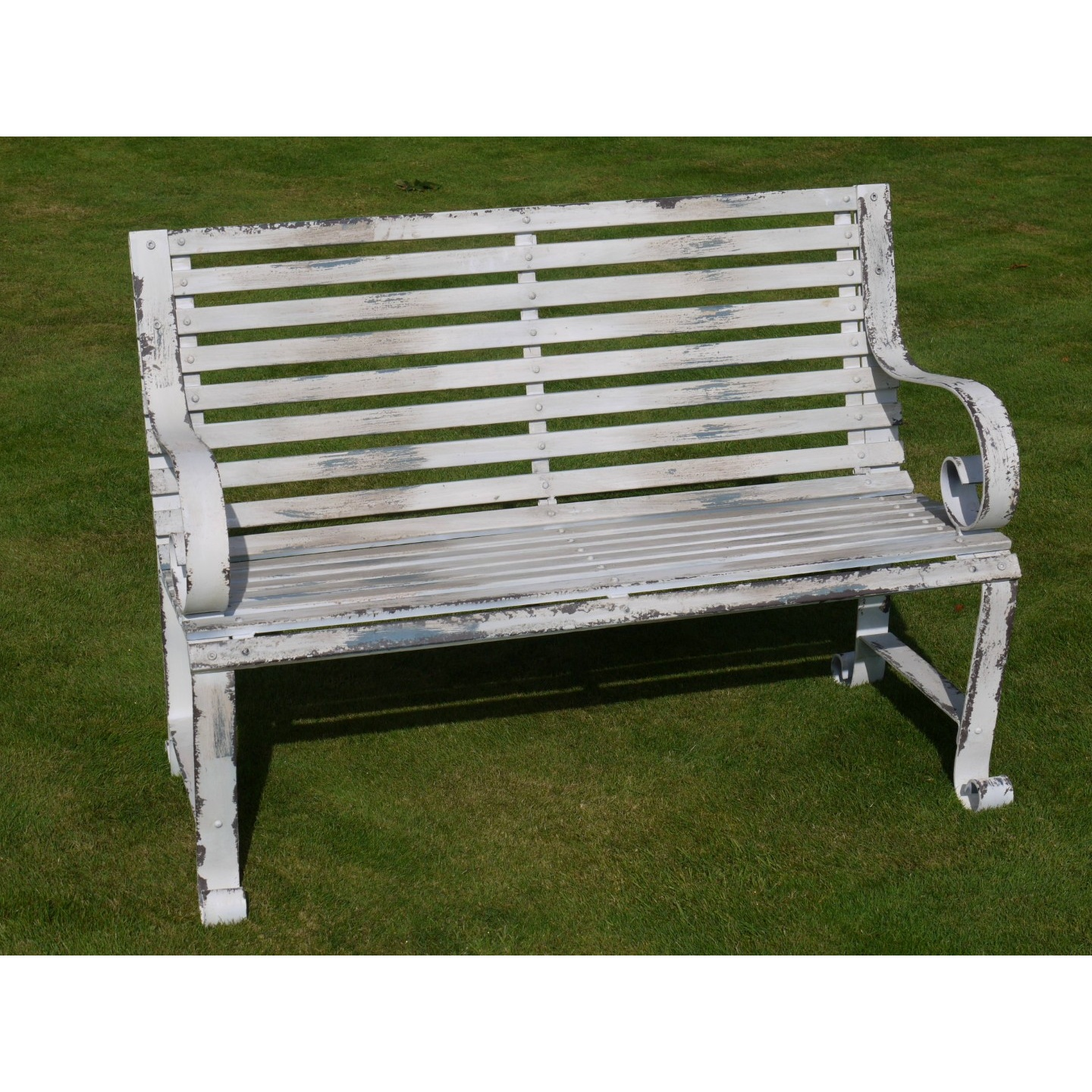 Shabby Chic Metal Bench Distressed Swanky Interiors