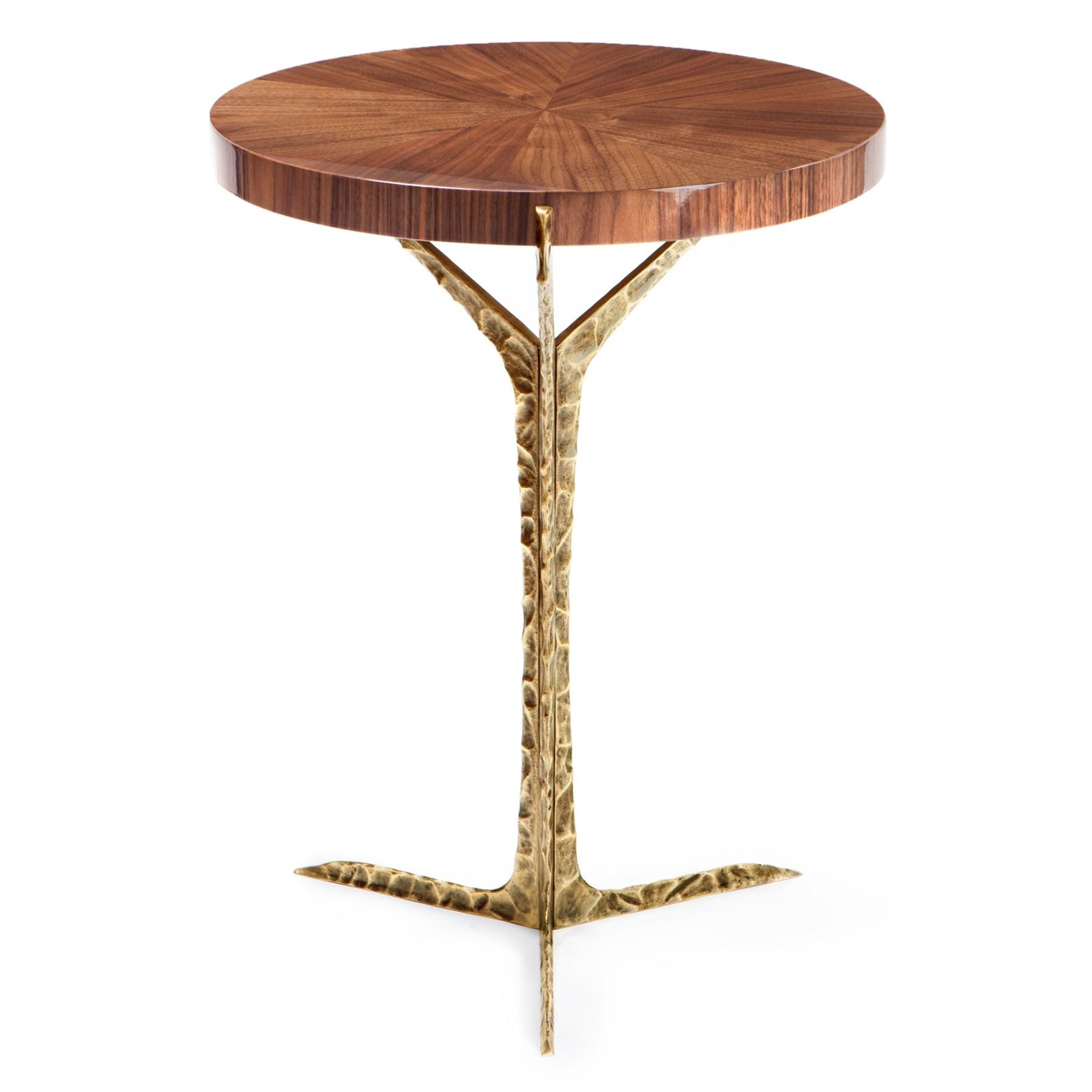 walnut side table brass alentejo swanky interiors. Black Bedroom Furniture Sets. Home Design Ideas