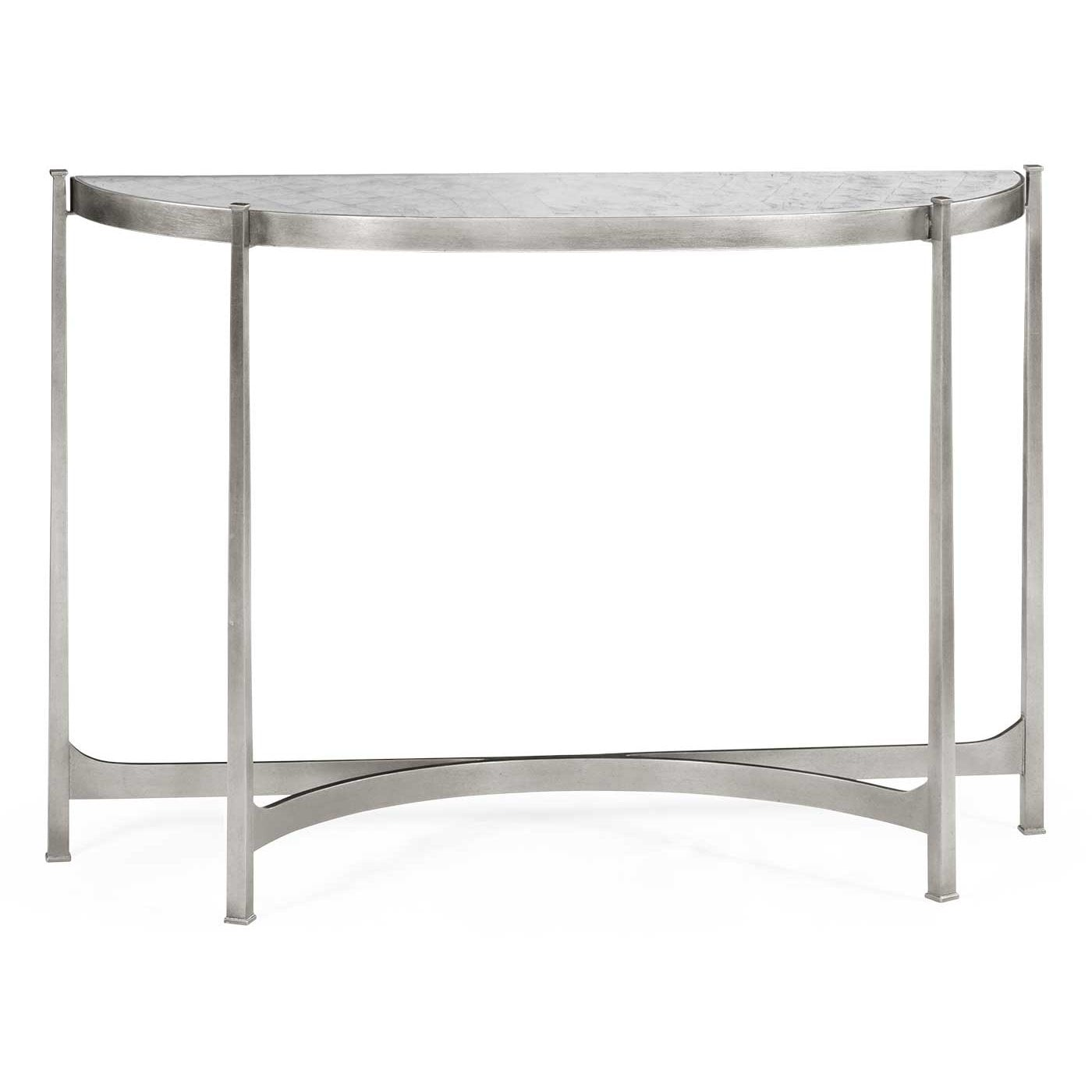 2213ac89f8807 Modern Demilune Console With Glass Top